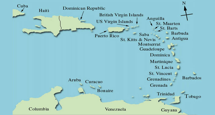 Caribbean Crews Film Productions Islands Map - Map of puerto rico caribbean islands